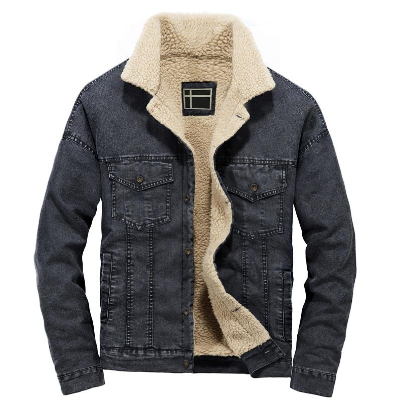 82679493a Winter Men s Fleece Lined Denim Jackets Turn Down Collar Thick Warm Jeans  Jackets Coats For Male US Size S-XXL