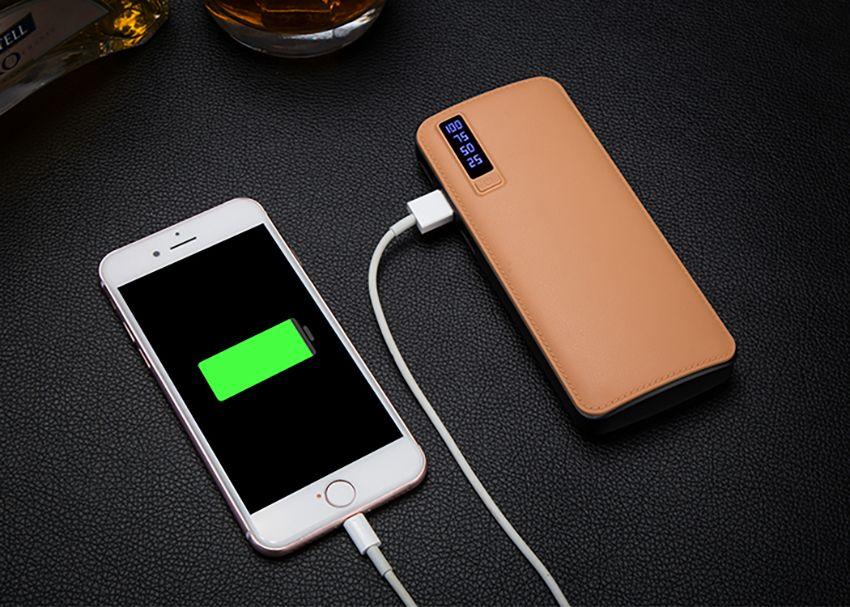 Neue stil 20000 mah energienbank 3usb externe batterie tragbare energienbank ladegerät mit led-licht für iphone 8 x samsung s8 universal 50 stück