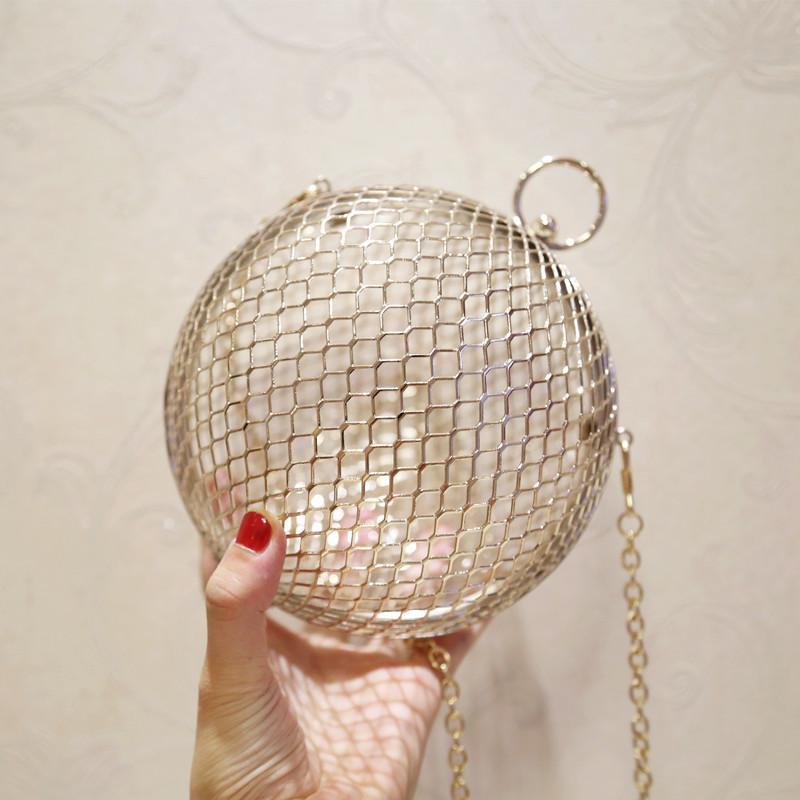 06a7933080 Fashion Hollow Design Round Shaped Women Clutch Bag Gold Alloy Ladies Chain  Shoulder Crossbody Bags For Luxury Brand Ball Purse D18102407 Red Handbags  Pink ...