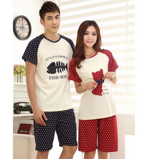 Couples pajamas set cute cartoon milk silk summer sleepwear large size home suit women's and men's tracksuits clothes A813