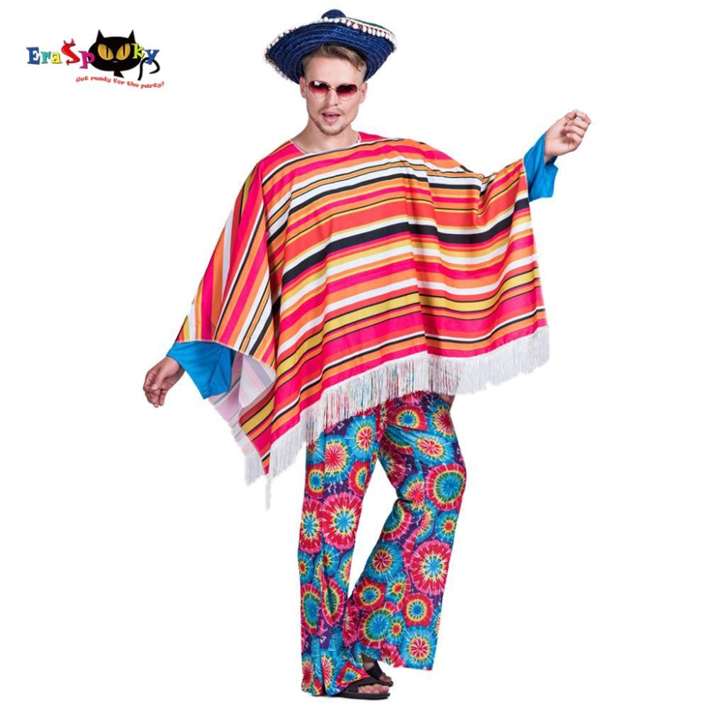 men mexican poncho wild west cowboy costume carnival party adult male bandit outfits blanket clothing halloween costumes cute group halloween costumes cheap