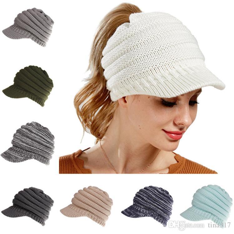 Großhandel Winter Hüte Pferdeschwanz Hüte 12 Farben Gestrickte