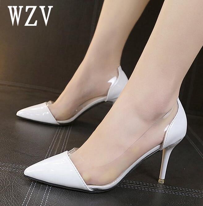 ecc445e1de5 Women Pumps 2018 Transparent 8cm High Heels Sexy Pointed Toe Slip On  Wedding Party Shoes For Lady Shoes E092 Mens Boat Shoes Loafers For Women  From ...