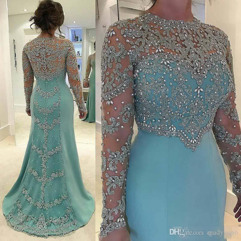 Mint Green Luxury Crystal Lace Mermaid Plus Size Prom Dresses 2018 Illusion Long Sleeve Full Back Dubai Arabic Caftan Evening Gown