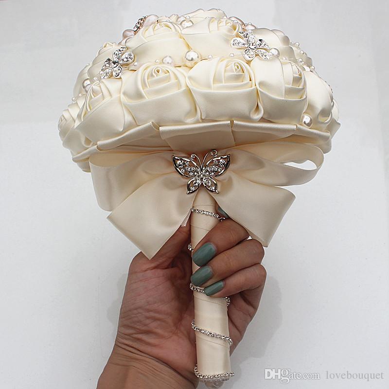 18 CM 18 CM Bege Flores De Seda Artificial Buquê De Noiva Da Dama De Honra Flores De Noiva Segurando Flores Strass Broches De Casamento Buquê