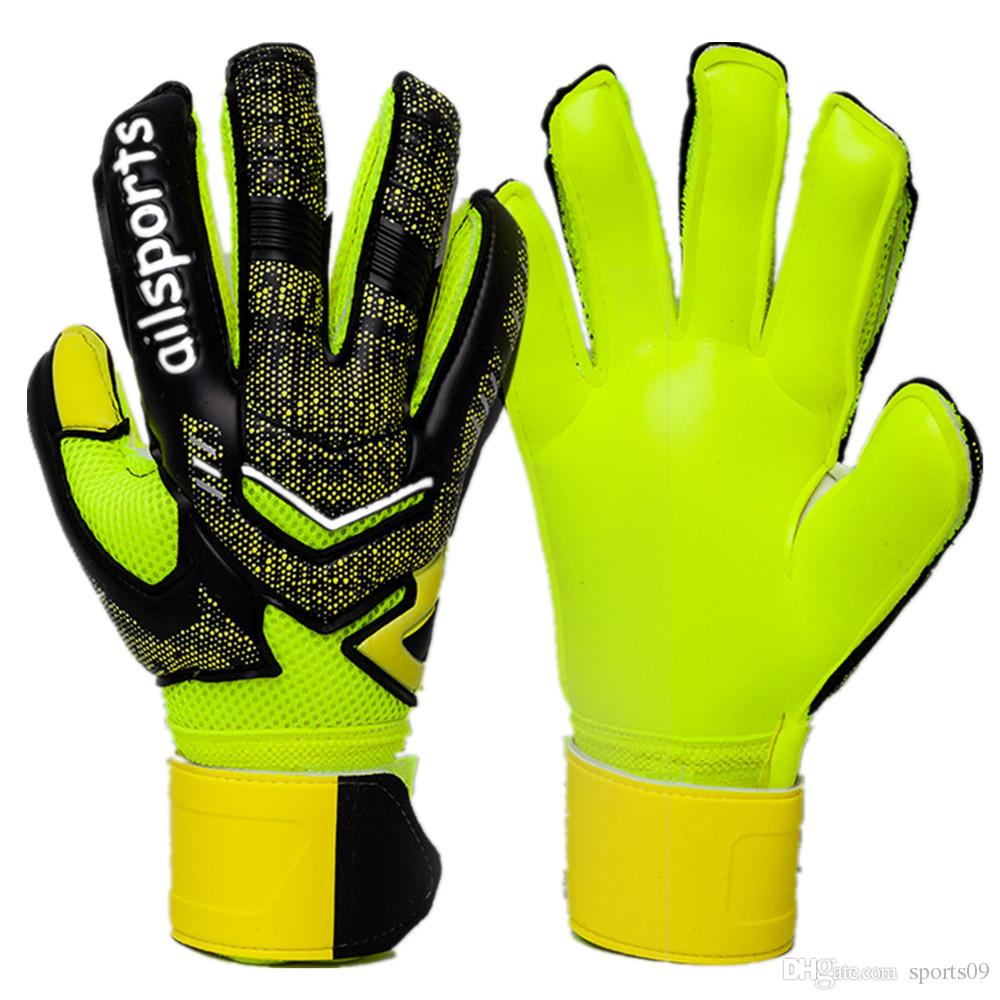 69fe80e60 2019 2019 Goalie Soccer Gloves Professional Full Latex Men Goalkeeper  Gloves Football Goal Keeper Thicken Finger Save Protection Non Slip From  Sports09, ...