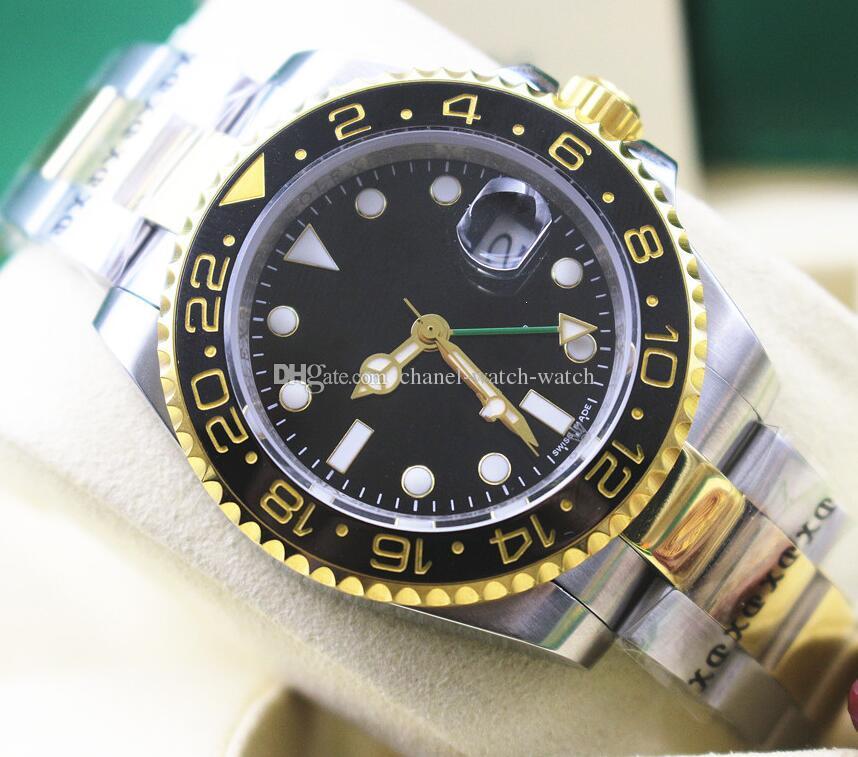 12eeff263db Compre Marca De Luxo Novo Relógio GMT 18k Ouro Amarelo E Aço Mostrador  Preto Mens Watch 116713 Cerâmica Bezel Ásia 2813 Movimento Automático Dos  Homens ...