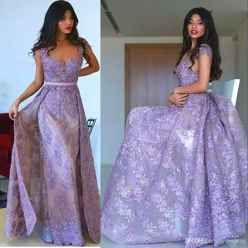 Lavender Mermaid Long Prom Dress With Overskirts Glamorous Full Lace  Applique Beaded Tulle Evening Dresses Newest Couture Formal Party Dress  Estelles Prom ... 708d5bd22796