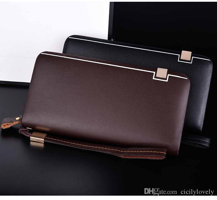 Wholesale-brand handbag genuine leather purse men fashion clutch wallet large capacity men's purses wallets brown coffee color carteira