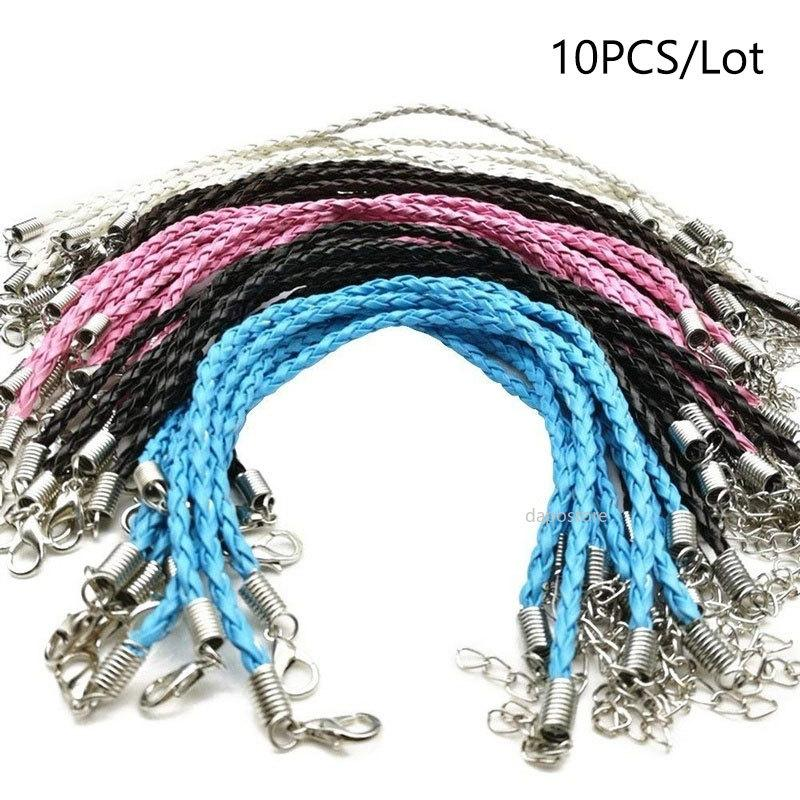 10 PCS/Lot 21Colors 20+5cm Leather Braided Charm Chain Bracelets Love for Bead Lobster Clasp Link Chains