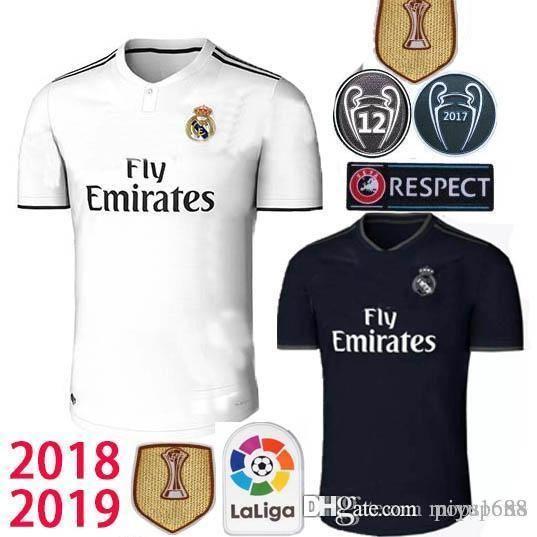 2019 2018 19 Real Madrid Soccer Jersey Home White Away Black CR7 RONALDO  MODRIC ISCO RAMOS Asensio Kroos Football Shirt Champions League Uniform  From ... b12e50e65