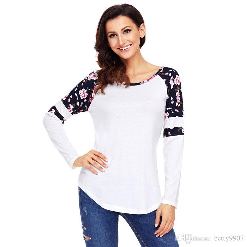 7d63e679 Womens Designer T Shirts Autumn Floral Plus Size Long Sleeve O Neck 2018  New Casual Fashion Tops 5 Teet Shirts Tee Shirts For Sale From Betty9907,  ...