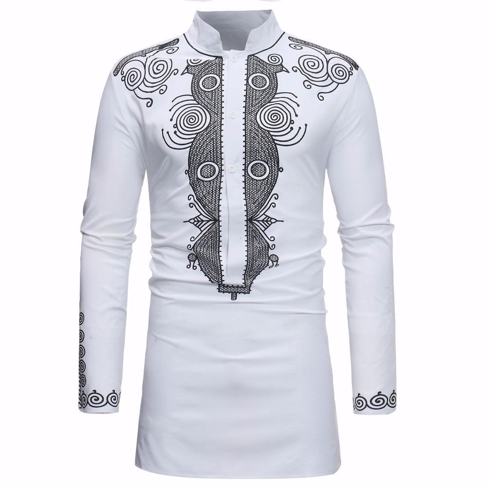 2019 African Dashiki Shirt Men 2018 Spring Autumn New Stand Collar