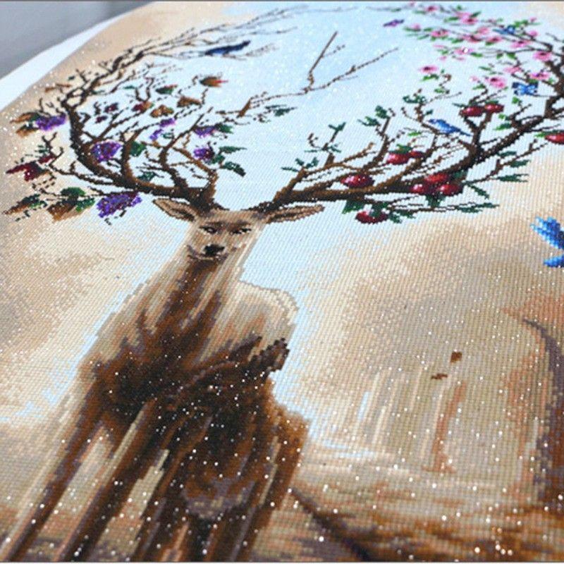 Diy hecho a mano punto de cruz rectángulo animal alce diamante pinturas estéreo sin marco vívidos murales decorativos nueva llegada 42yz3 b