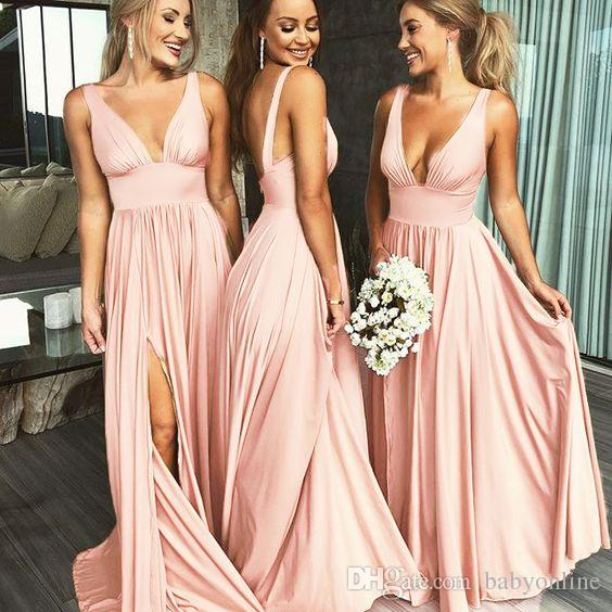 Summer V Neck Sexy Bridesmaid Dress Long Maid of Honor 8587524a7914