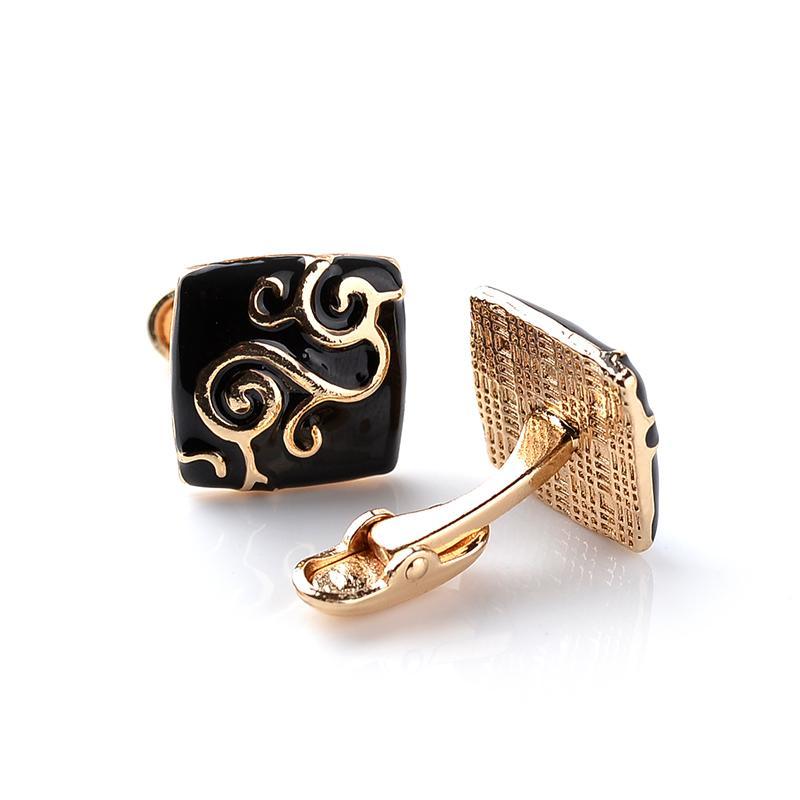 2016 Nova Marca de Luxo de Ouro e Preto Abotoaduras Quadrados Abotoaduras Cufflinks Presentes de Negócios de Casamento Camisa Masculina Francês Cuff Link