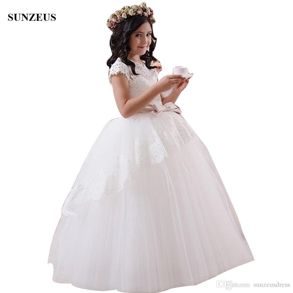 2adb2a88f03 Girls Dresses For Party And Wedding Ball Gown Appliques Ivory Tulle ...