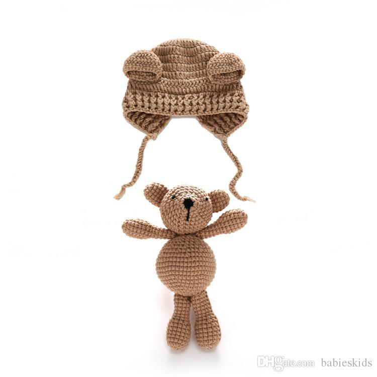 Newly Design Baby Photography Props Accessories Hat Cap Doll Sets Infant Bebe Soft Handmade Knitted Beanie Bear Toys Gifts