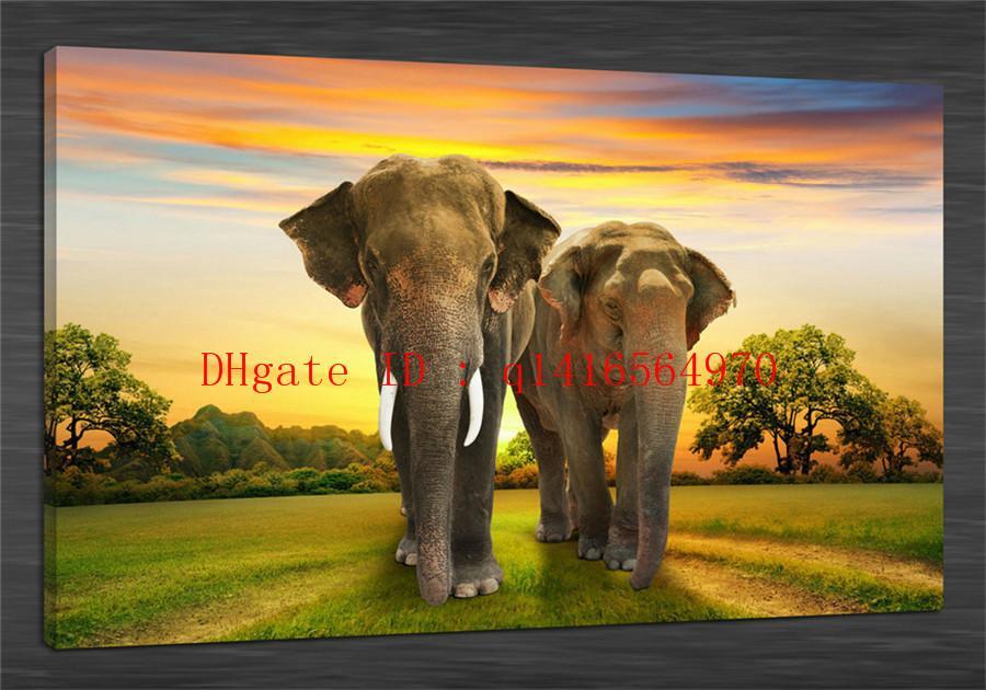 Compre Elefantes Animales Cielo Salvaje, Impresiones En Lienzo Arte ...