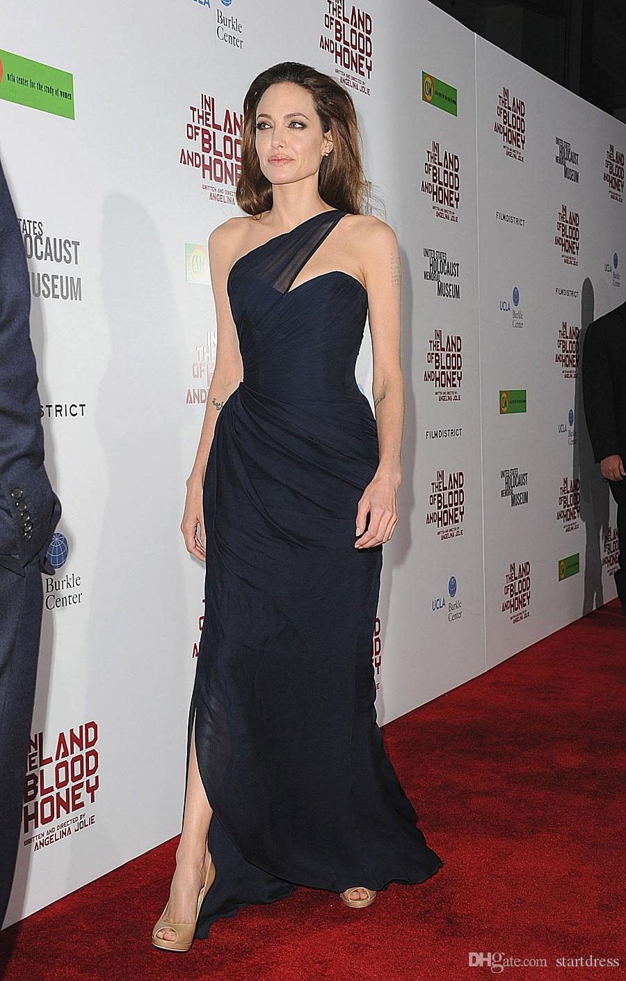 Angelina Jolie Black Navy Chiffon One Shoulder Formal Evening Dresses Pleat Side Slit Floor Length Red Carpet Celebrity Prom Gowns Long 2018