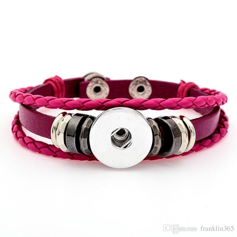 Snap Lederarmband Frauen Snap Button Armband fit 18mm Ingwer Snaps 6 Farbe Lederarmbänder Modeschmuck
