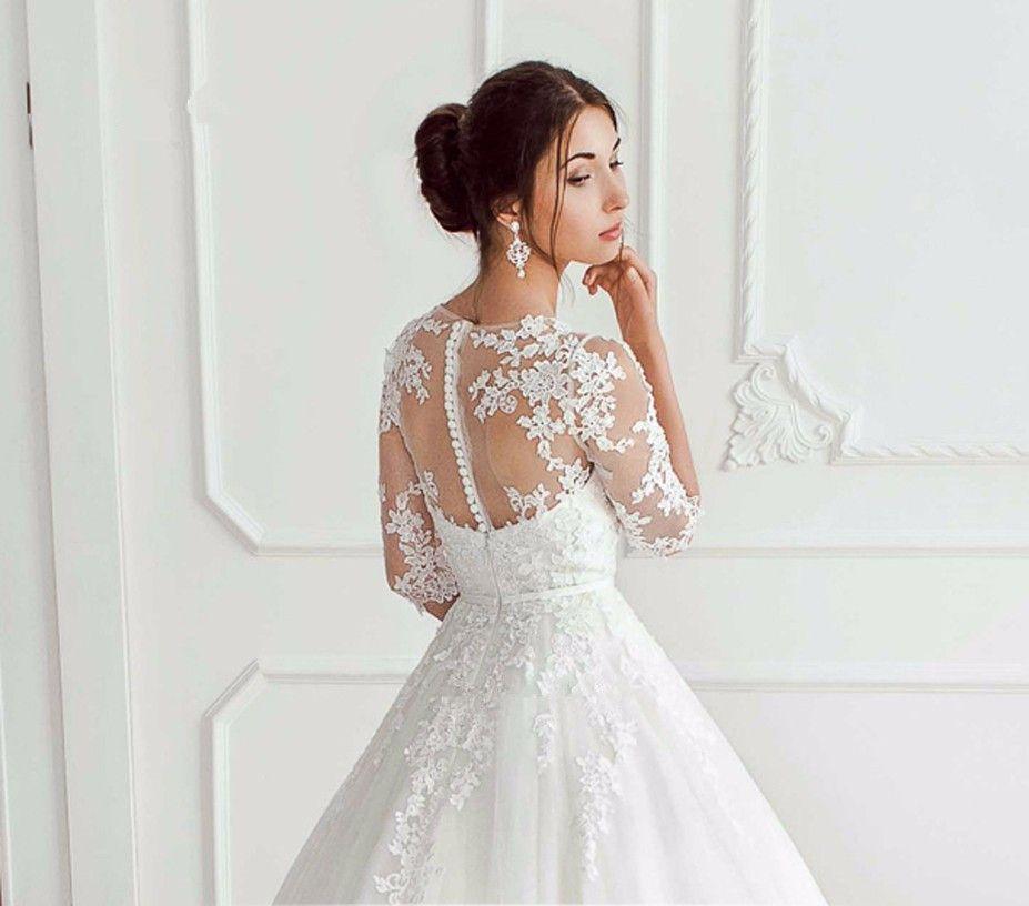 Korean Wedding Dress Vestido de Noiva Vintage Princess Wedding Gowns Lace Half Sleeve Applique Bride Dresses 2018 Casamento