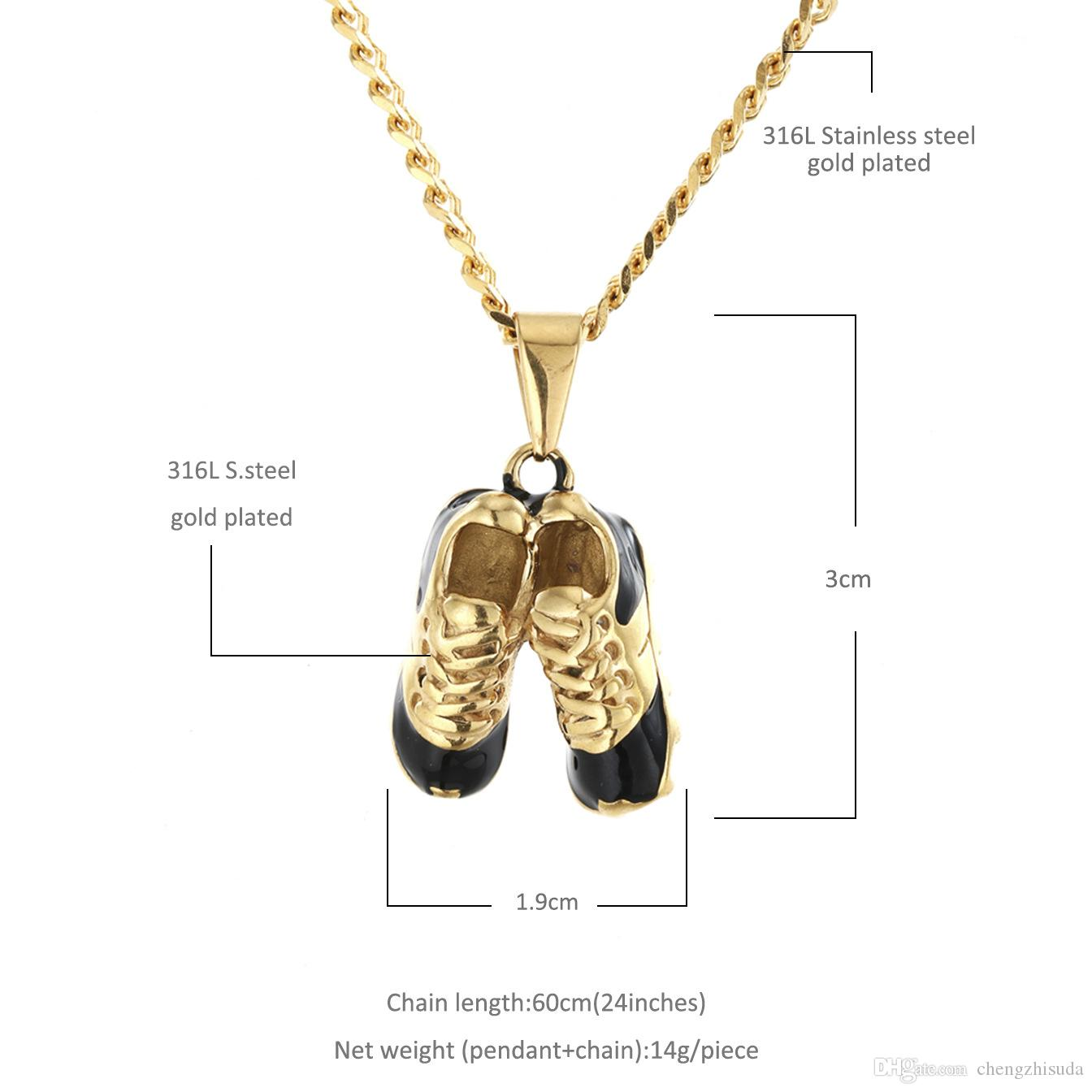 Iced Out Stainless Steel Football Shoes Pendant Gold Color Punk Popular Hip Hop Rock Necklace Fashion Cuban chain For Men Women