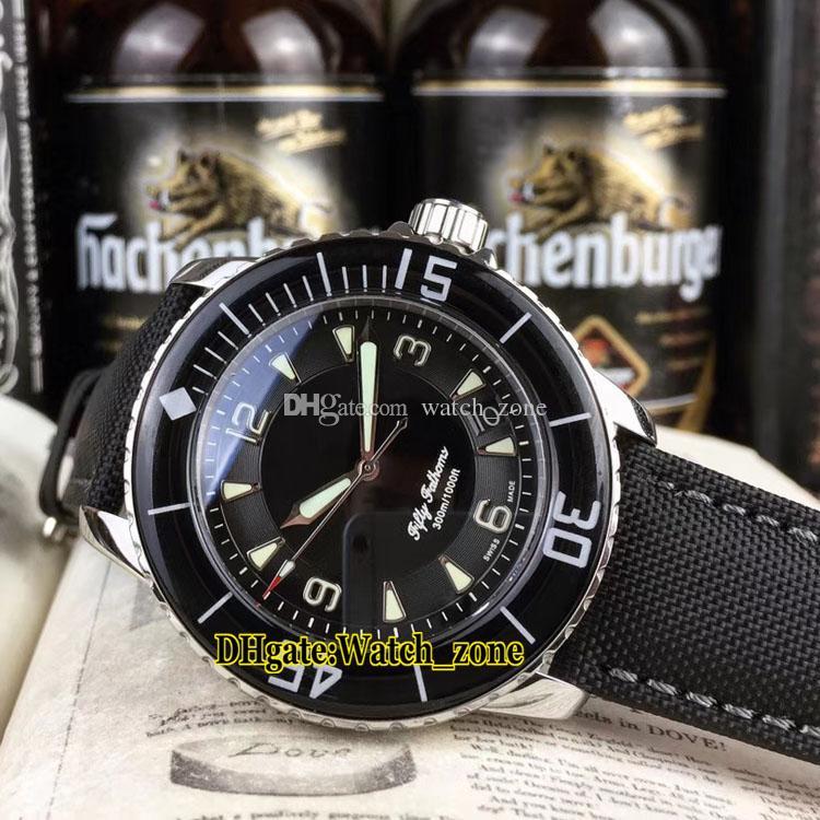 New Fifty Fathoms 50 Fathoms 5015-1130-52 quadrante nero Giappone Miyota 82115 Automatic Mens Watch cinturino in pelle argento Carve Case orologi