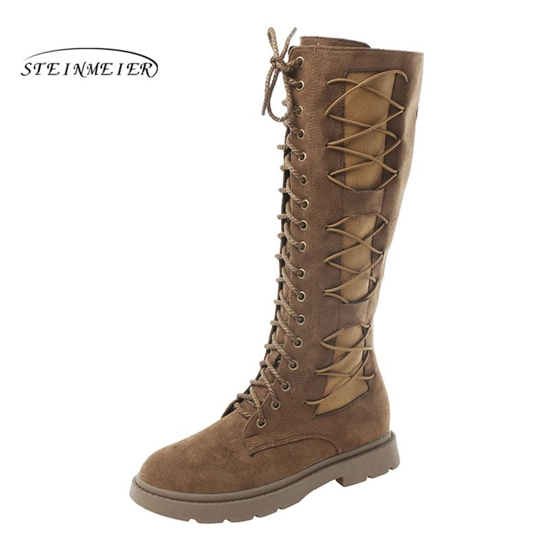 4f5317d5e206 Women Over Knee Long Winter Boots Flat Heel High Lace Up Warm Black British  Boots For Woman Shoes Snow Combat Boots For Women Sexy Shoes From Nevada