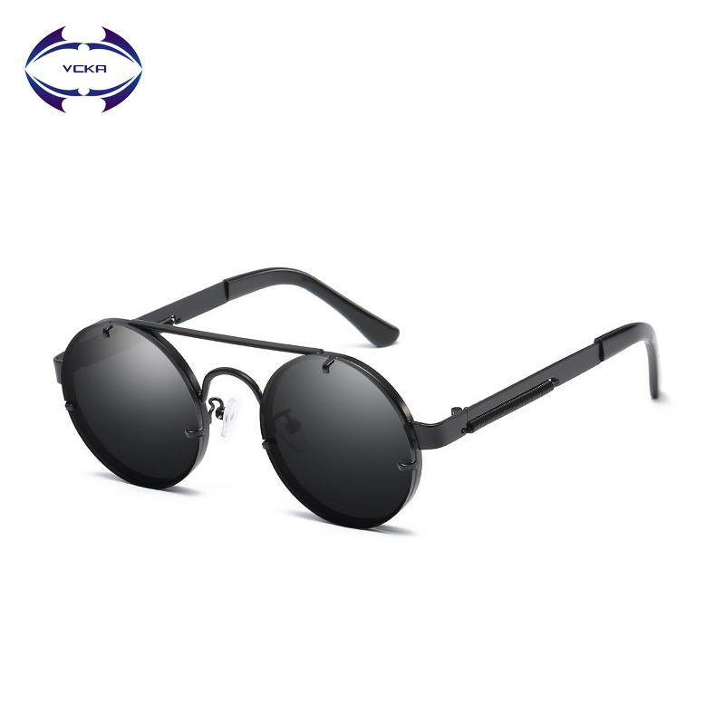 1ca538803566 VCKA Gothic Steampunk Sunglasses Men Metal Round Shades Male Clear Sun  Glasses For Women Hip Hop Steam Punk Eyewear Polarised Sunglasses Baby  Sunglasses ...