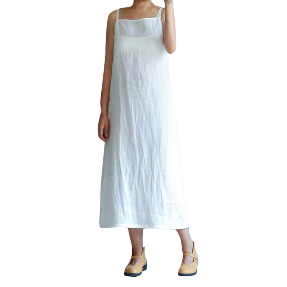 2670a105bed Acheter Moda Mujer 2019 Femmes Plus Size Coton Dress Casual Dames Filles  Sans Manches Broderie Solide Lâche Robes Vestidos De Festa De  24.19 Du  Jamie10 ...