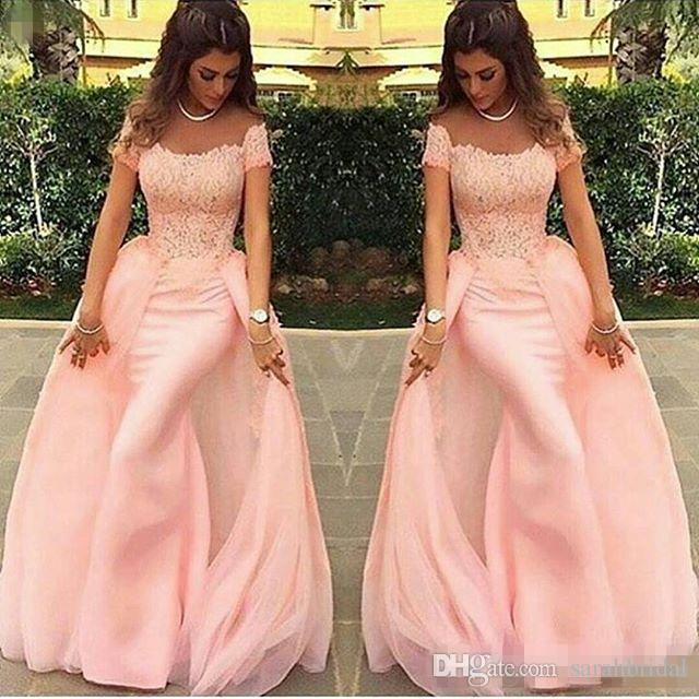 2017 Blush Pink Charming Prom Dresses Full Lace Detachable Train Short Sleeves Formal Party Gowns Floor Length Plus Size Dress Evening Wear