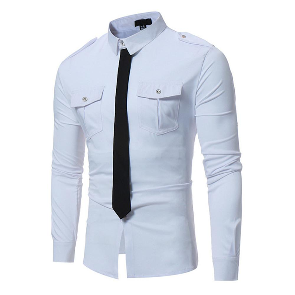 d931e10db7fc 2019 Tie Decors Male Shirt Men Party Wear Double Pocket Blouse High Quality  Cotton Tops Long Sleeve 2018 Autumn New Arrival Boy Club From Vikey06