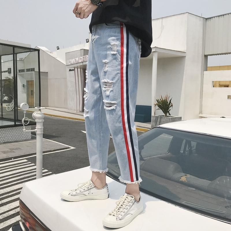 Compre 2018 Hombres Moda Estilo Clásico Azul Stretch Weave Traiga Decorar  Agujeros Jeans Pantalones Casuales Marca Biker Pantalones De Mezclilla  Talla S 2XL ... 6e753d26a42