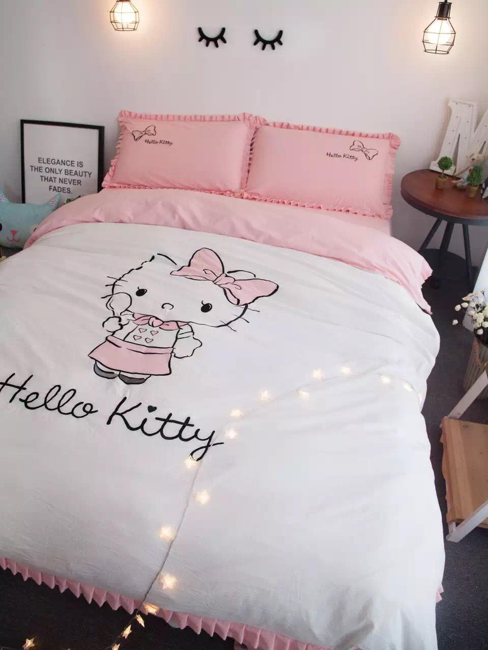 100% Cotton Carton Stye Hello Kitty Embroidered Bedding Sets White Duvet  Cover Pink Bedsheet Pollowcases King Queen Size Red Bedding Kids Comforter  Sets ...