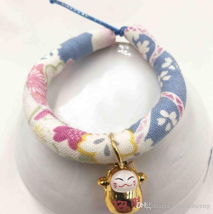 Fashion cute cat dog collars with bell hand made adjustable collar ties neck strap elegant pet supplies