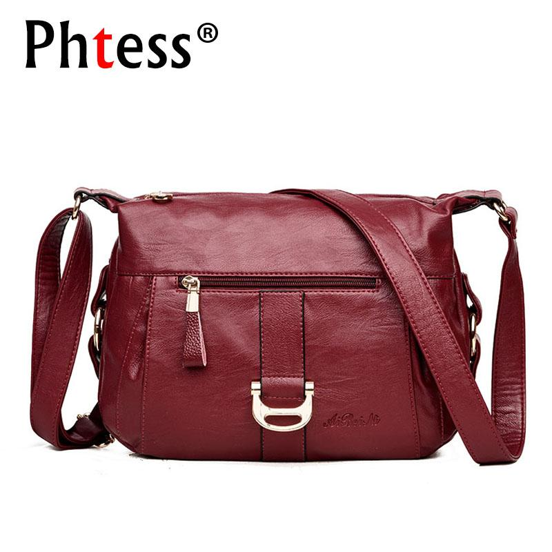 8c6ce8d8e1 2018 Women Messenger Bags Flap Vintage Female Crossbody Leather Shoulder  Bags Designer Handbags High Quality Ladies Bolsa Handbags Wholesale Purses  For Sale ...
