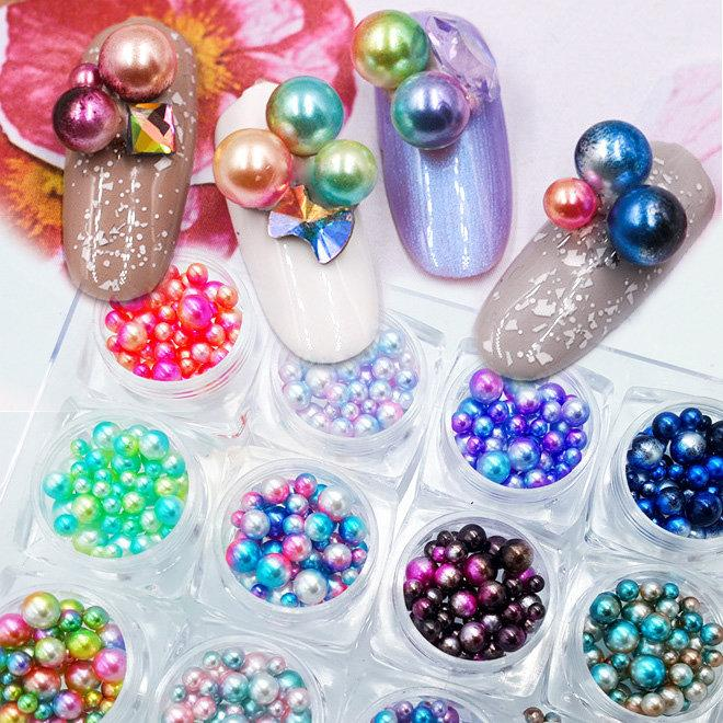 New 12 BoxesNail Art Mermaid Symphony Pearls Set 3d Ball Pearls ...