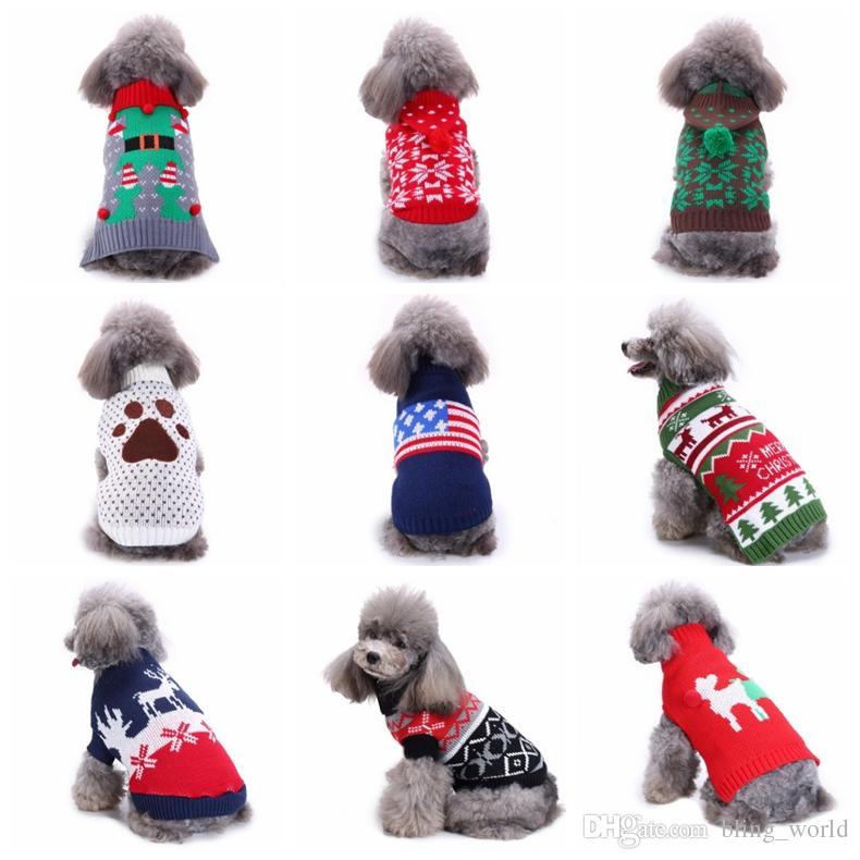 Compre Perro Suéter Navidad Punto Perrito Sudaderas Copo De Nieve ...