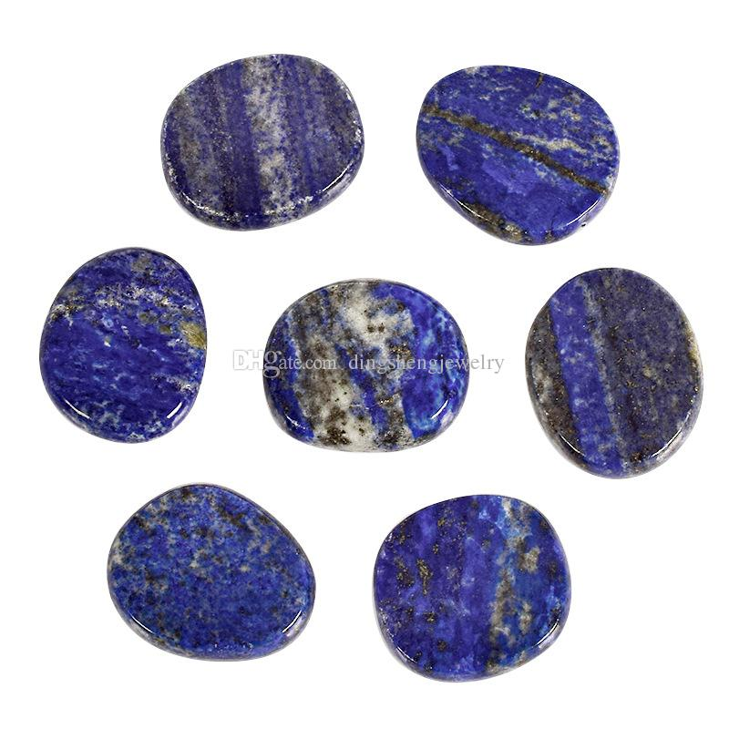 DingSheng Natural crystal quartz oval slice amethyst obsidian agate Palm stones round crystal flat Tumbled energy stone Reiki Healing Chakra