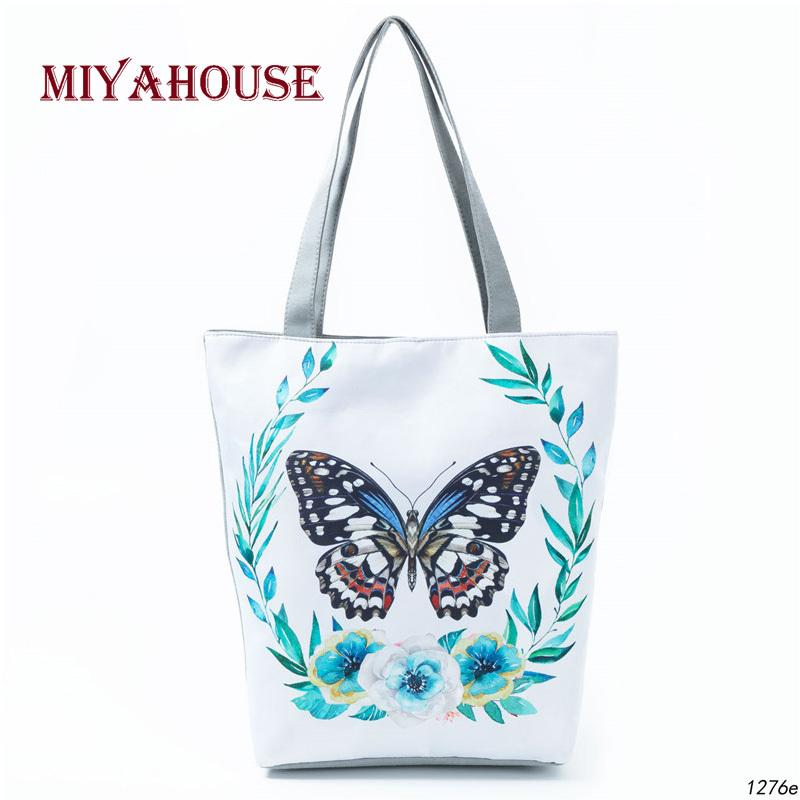 7cd0a904c5 2019 Fashion Butterfly Printed Casual Tote Large Capacity Female Handbags  Single Shoulder Shopping Bags Daily Use Women Canvas Beach Bag Handbags  Purses ...