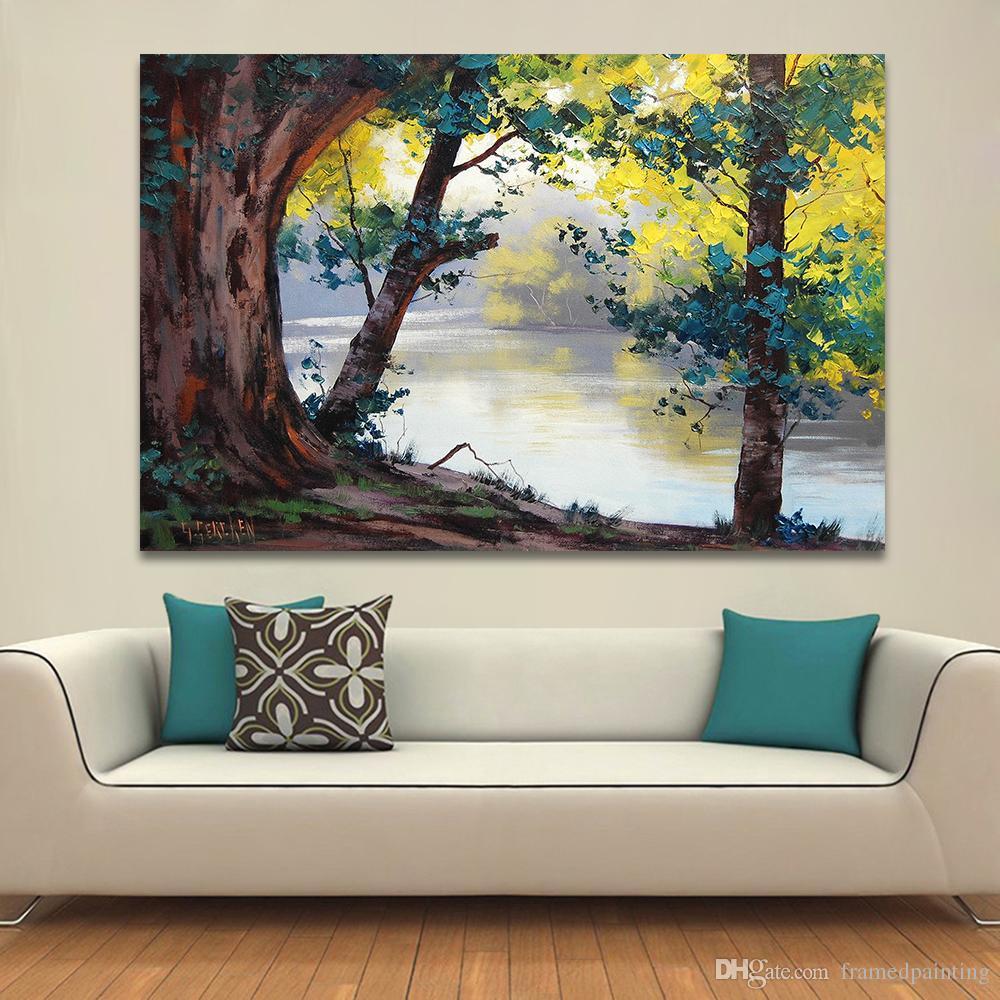 Großhandel Landschaftsmalerei Wohnkultur Wandbilder Für Wohnzimmer Leinwand  Kunst Ölgemälde Natur Fluss Bäume Kein Rahmen Von Framedpainting, $25.52 ...