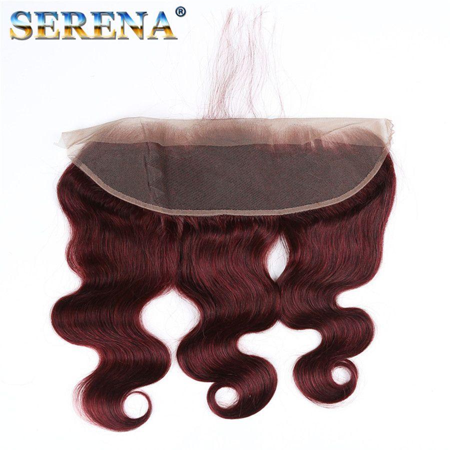 8A бразильский человеческих волос пучки красных пачках с фронтальной 99j объемная волна Виргинские волос закрытие Бургундии человеческих волос пучки с 13x4 лобной