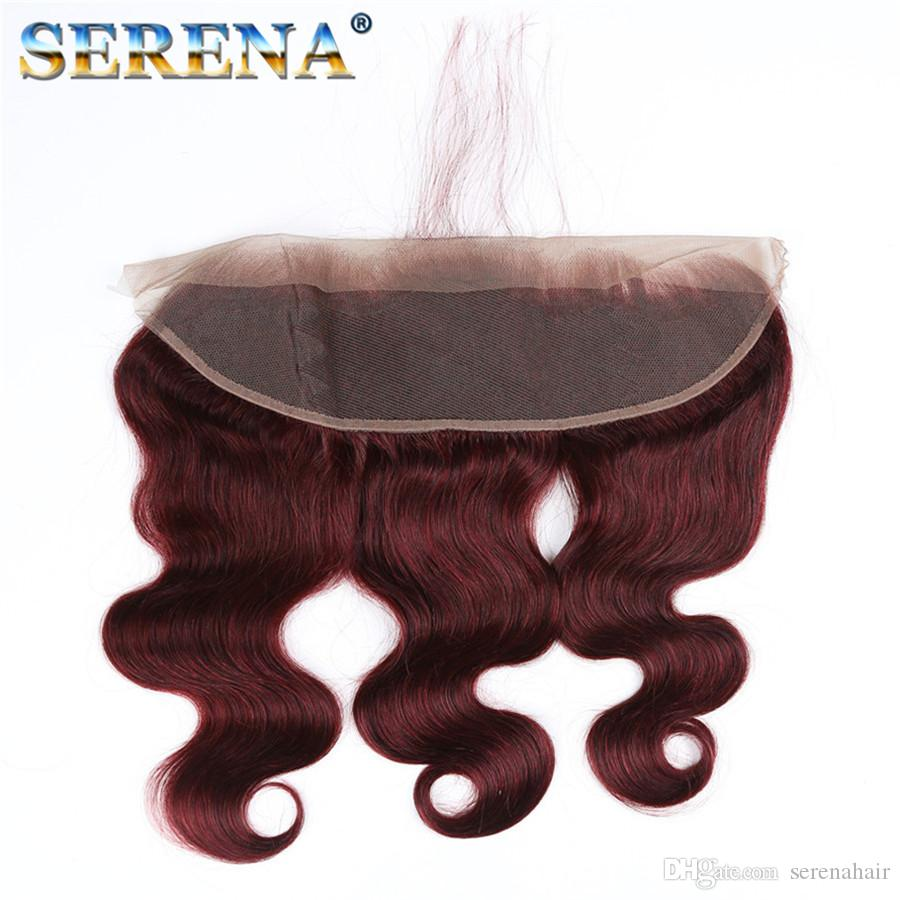 Capelli 8a umani brasiliani Bundles Bundles Rosso Con Frontale 99j Bundles Body Wave Virgin dei capelli chiusura Borgogna capelli umani con 13x4 Frontale