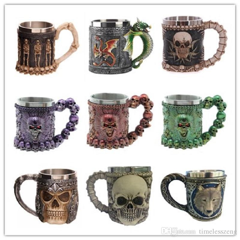 Eye-catching Double-deck Stainless Steel Mugs Party Creative Drinking Glass 3D Skull Skeleton Punk Style Wine Glasses Whisky Glasses