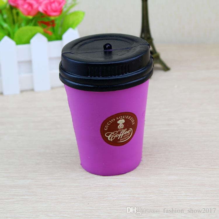 Jumbo 11cm Coffee Cup Squishy Slow rising Cute Phone Strap Kawaii ciondolo elastico torta pane giocattolo decompressione