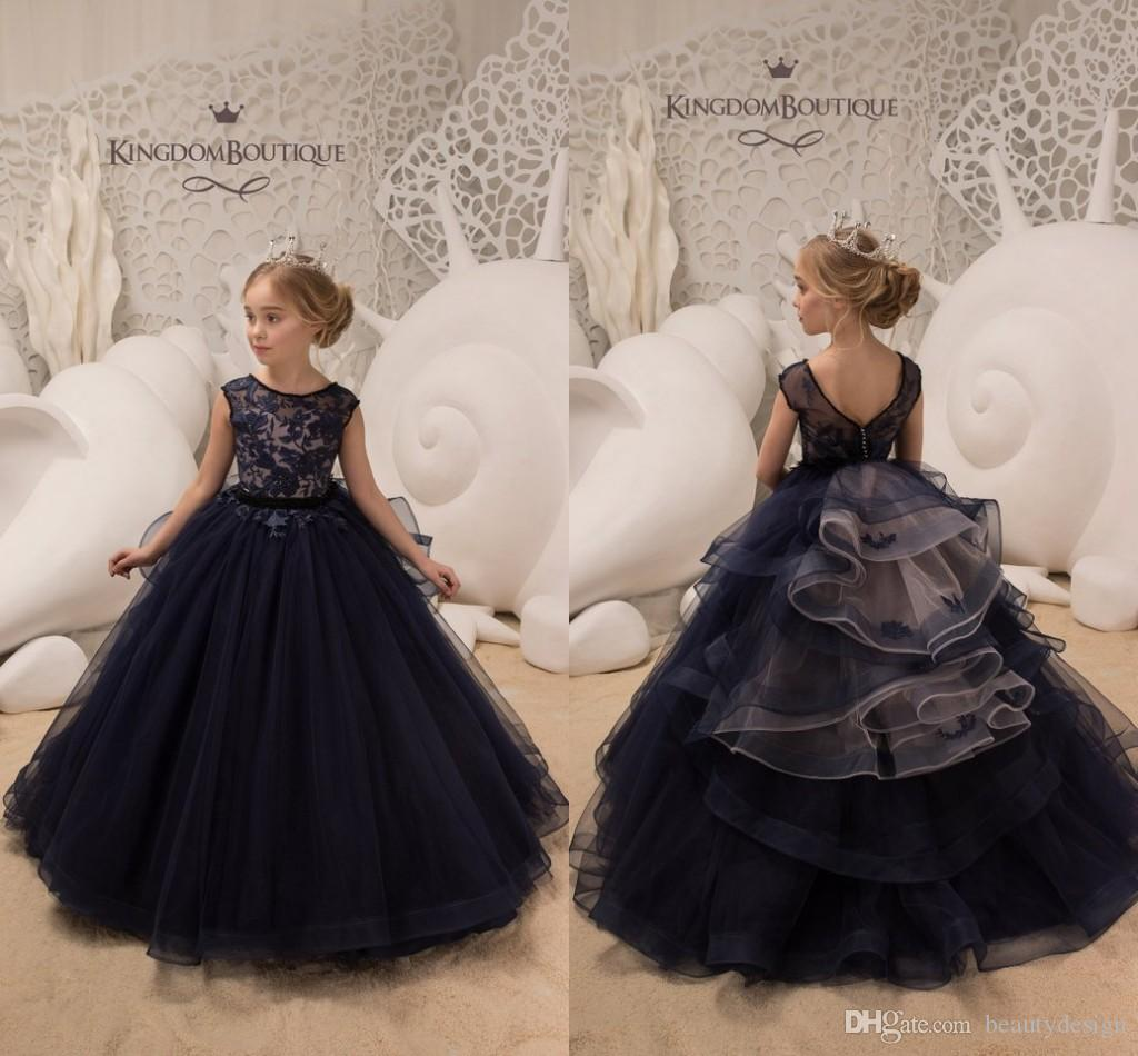 a25a0df93e42 Dark Navy Jewel Neck Capped Sleeves Princess Flower Girl Dresses For Wedding  Lace Appliqued Tulle Girls Pageant Gowns For Birthday Weddings Dark Navy  Flower ...