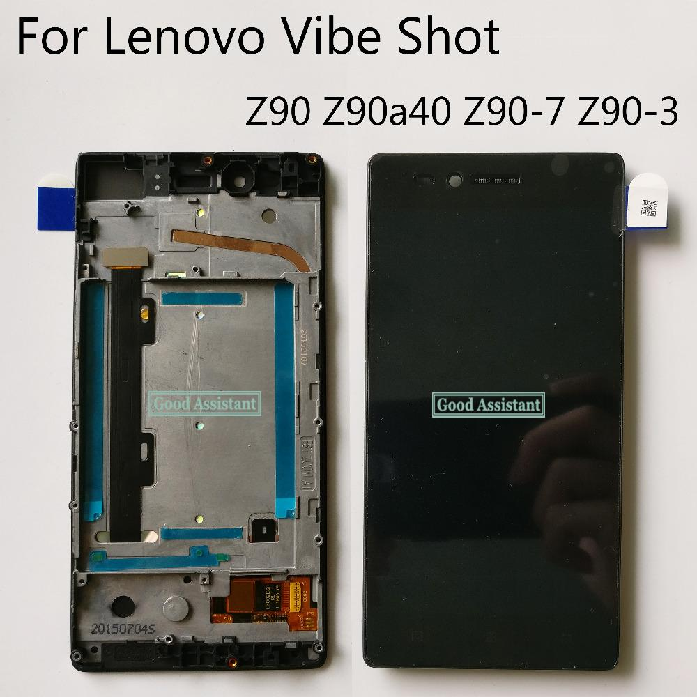 Original 5 0 inch Black For Lenovo Vibe Shot Z90 Z90a40 Z90-7 Z90-3 LCD  DIsplay Touch Screen Digitizer Assembly With Frame