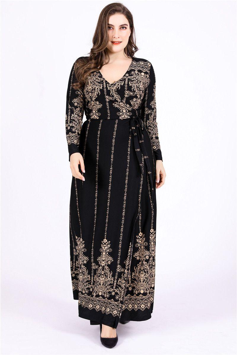 Floral Print Vintage Dress Winter Women V Neck Long Sleeve High Waist Wrap  Dress Plus Size Maxi Long Party Dresses