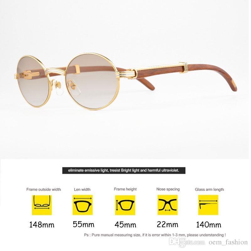 18665e94d7400 Compre Marca De Luxo 18 K Óculos De Sol De Ouro De Metal Rodada Quadros De  Madeira Real Designer De Óculos De Sol Marcas Para Homens Óculos De Madeira  Do ...